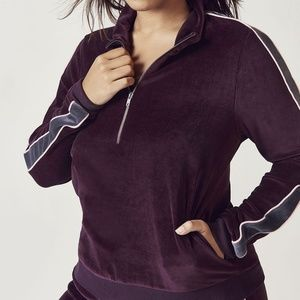 Fabletics Britt Velour Pullover Half-Zip Top NWT!